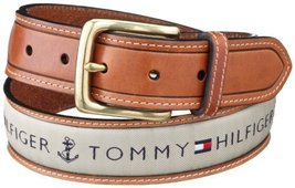 Tommy Hilfiger Men's Ribbon Inlay Belt, Khaki, 42