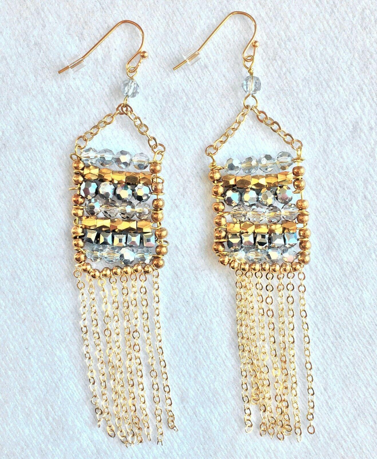 Leslie Danzis Colorblock Austrian Crystal Fringe Chain Chandelier Earrings NWT