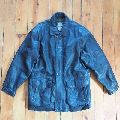 Vintage Black Members Only Leather Flight Bomber Motorcycle Coat Jacket Size XL - $49.49