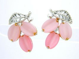 VTG LISNER Signed Silver Tone Pink Thermoset Screwback Earrings - $29.70