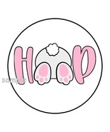 """30 CUTE EASTER BUNNY ENVELOPE SEALS LABELS STICKERS 1.5"""" ROUND HOP FAVOR... - $4.99"""