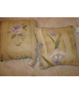 2 DAN RIVER Decorative Bed Pillows Yellow with Purple Flowers - $24.74