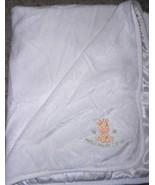Carters Watch Me as I Grow Baby Blanket White Satin Giraffe Green Stars - $19.25