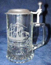 Vintage Glass Stein Pewter Lid Grand Turk Sailing Ship AWLE W. Germany O... - $14.99
