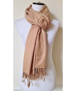 """NEW PASHMINA Light Brown Silk Scarf Fringed Shawl Wrap Made in India 37""""... - $14.99"""