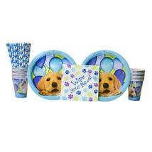 Party Pups Party Pack for 16 Guests - Straws, Lunch Plates, Luncheon Nap... - £22.89 GBP