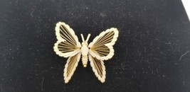 Vintage Signed Monet Gold Tone Butterfly Painted White On Front Pin / Br... - $9.62