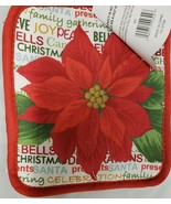 "Set of 2 Printed JUMBO Pot Holders,7""x8"",WINTER CHRISTMAS POINSETTIA FLO... - $8.90"