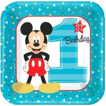 "Mickey Mouse Fun to Be One 8 7"" Dessert Cake Plates 1st Birthday Party - £3.53 GBP"