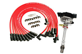 EFI Distributor 6 Cylinders Vortec 1995-2007 & Red Spark Plug Wires For Chevy GM