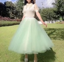 Carrie Bradshaw Tulle Skirt Outfit Plus Size Midi Tulle Green Tutu Holiday Skirt image 5