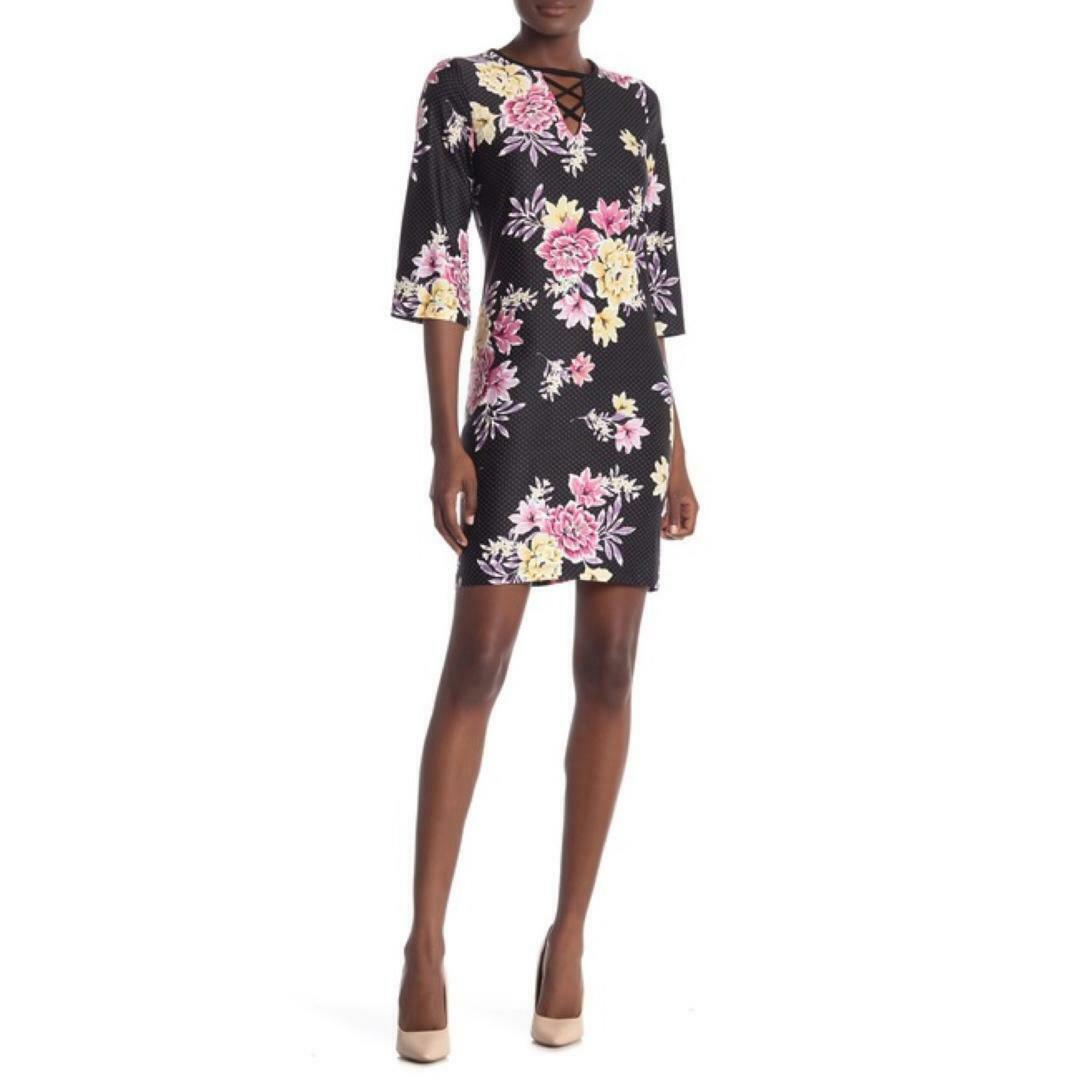 Sandra Darren Womens Black Shift Dress 3/4 Sleeves Floral Polka Dot Sz L 12 NWT