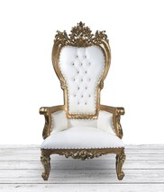 Heavily Carved GOLD and WHITE High Back Tufted Wedding Throne Chair. Orn... - $890.01