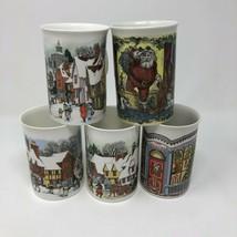 5 Dunoon Mugs Cups Sue Scullard Bone China Christmas, Winterscape Scotland - $35.77
