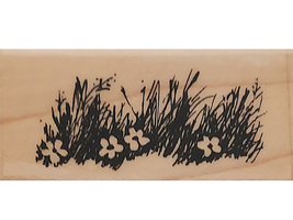Stampendous 1989 Green Pastures Wood Mounted Rubber Stamp #B32 image 1