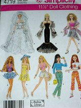 Barbie Size Doll Clothes 8 Outfits Sewing Pattern Simplicity 4719 - $8.41