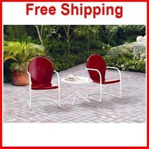 Outdoor Seat Patio Outdoor Garden Two Red Chair... - $199.99