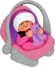 Baby Girl in Carrier Car Seat Pink First Christmas Tree Ornament Holiday... - $13.83