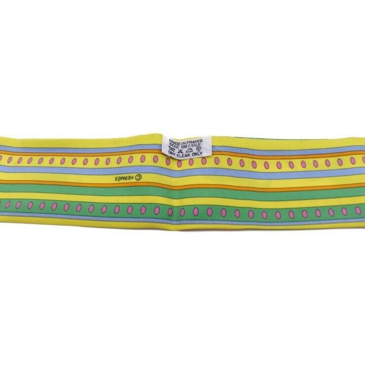Hermes Tsuiri ribbon scarf multi-color Yellow Green Blue Auth