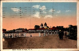 VINTAGE POSTCARD-BATH HOUSE AT RYE,  NY  BK20 - $3.43