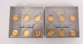 Doghaus 6 pc cat lady set of wine charms lot of 2 boxes coral amber 12 t... - $12.86
