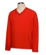CUTTER AND & BUCK WIND TEC CB WINDTEC RED ACTIVE V NECK WIND SHIRT L LAR... - $32.71