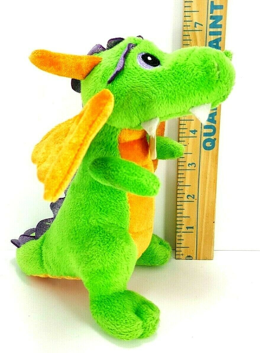 "Aurora World Plush 7"" Green Orange Dragon Legendary Friends Dragon with sound image 3"