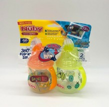 Nuby Active Sipeez Clik-It Flip n' Sip 2 PK Sippy Cups Age 12M+ New Orange/Green - $11.87