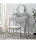 Silver Finish Vanity Set Oval Mirror Wooden Table Stool Makeup Drawer Be... - $233.54