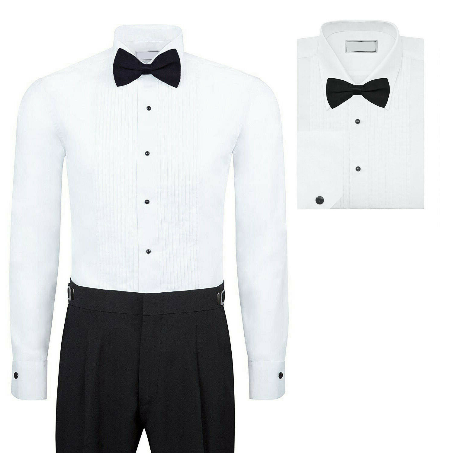 Men's Premium Formal Button Up Tuxedo Lay Down Collar Dress Shirt with Bow Tie