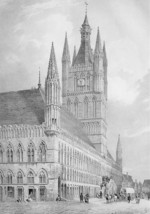 BELGIUM View of Ypres Town Hall - SUPERB Litho Antique Print - $38.24