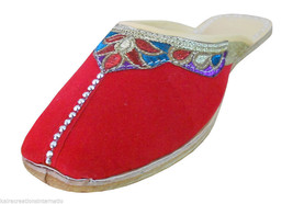 Women Slippers Indian Handmade Traditional Red Clogs Open Jutti US 10  - $24.99
