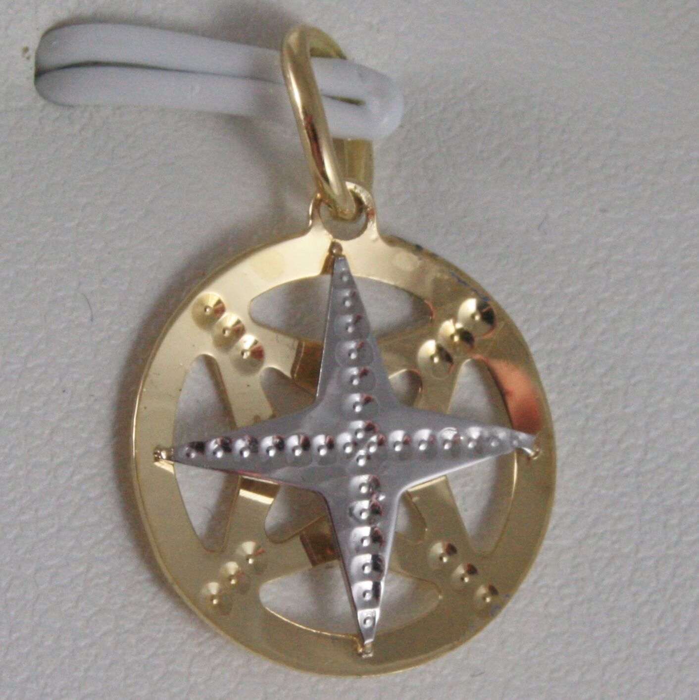 SOLID 18K WHITE & YELLOW GOLD WIND ROSE, COMPASS CHARM, PENDANT MADE IN ITALY