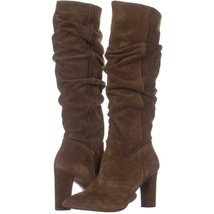 Franco Sarto Artesia Pointed Toe Slouch Knee High Boots 341, Light Brown Suede, - $63.35