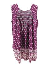 Charter Club Women's Plus Violet Purple Printed Sleeveless Blouse Size 0... - $21.78