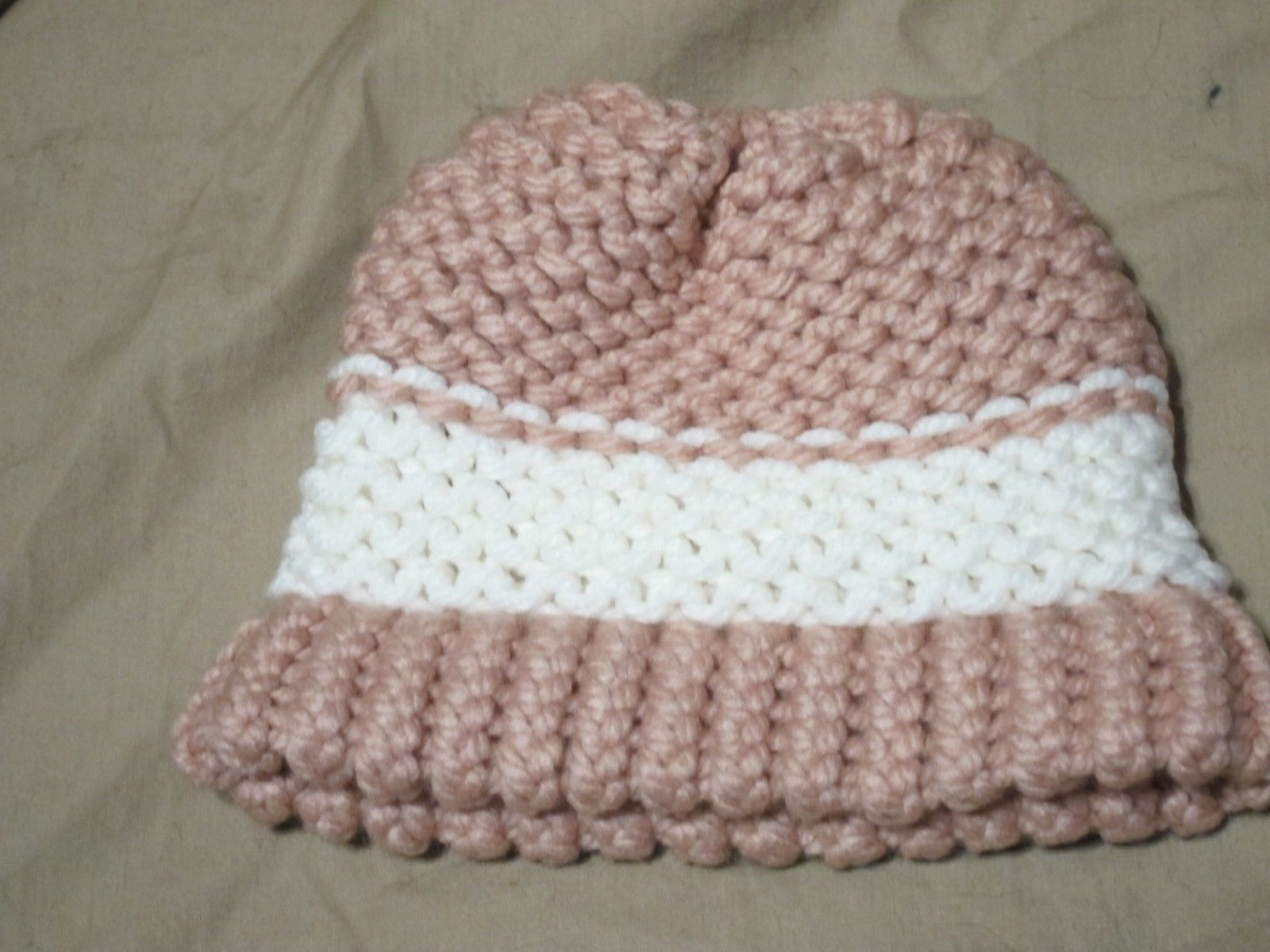Handmade Knitted Pink White Infant Winter Hat Cap CUTE