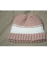 Handmade Knitted Pink White Infant Winter Hat Cap CUTE - $9.90