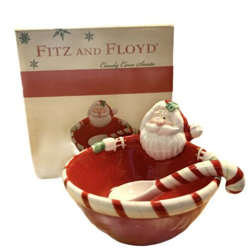 Primary image for Fitz And Floyd Candy Cane Santa Dip Bowl With Scoop 2014 w/box