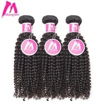 Maxglam Indian Virgin Hair Afro Kinky Curly Human Hair Weave Bundles Natural Col - $398.10