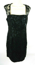 Adrianna Papell 6 Womens Dress Black Sleeveless With Sequins Cocktail Fancy - $89.09