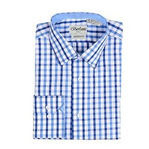 Men's Checkered Plaid Dress Shirt - Dark Blue, Large (16-16.5) Neck 34/35 Sleeve