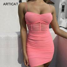 Articat Ruched Sheer Sexy Lace Summer Dress Women 2019 Strapless Pleated... - $44.98