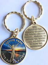 Opioid Free One Day At A Time Keychain Girl On Beach Sunrise Serenity Prayer - $13.99