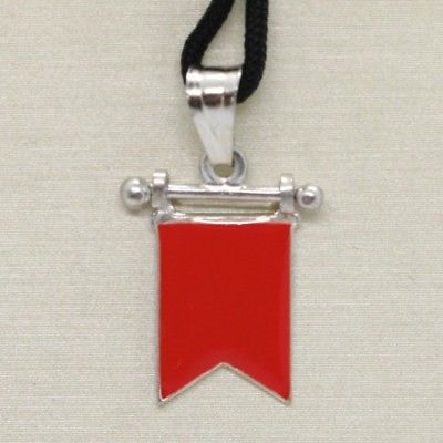 SOLID 925 STERLING SILVER PENDANT WITH NAUTICAL FLAG, LETTER B, ENAMEL, CHARM