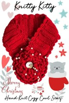 Red Heart-Warming Woolen Cowl Hand-Knit Scarf With Sequins - $19.99