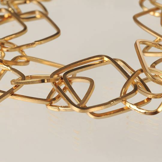 Silver 925 Bracelet Foil Gold Rhombuses Worked by Mary Jane Ielpo Made in Italy