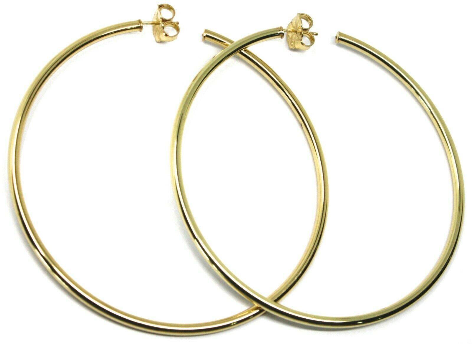 925 STERLING SILVER CIRCLE HOOPS BIG EARRINGS 8.5cm x 3mm YELLOW SMOOTH