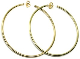 925 STERLING SILVER CIRCLE HOOPS BIG EARRINGS 8.5cm x 3mm YELLOW SMOOTH image 1