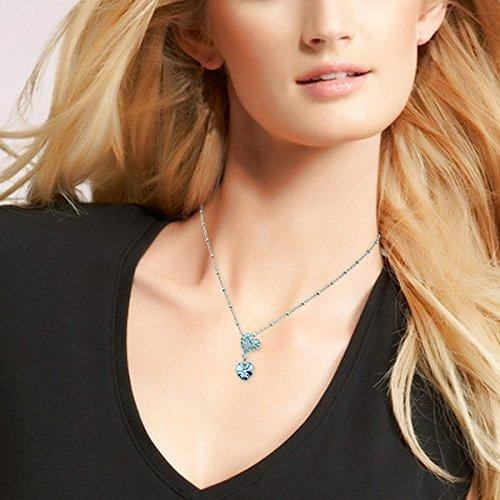 SHIP BY USPS: Le Premium Couple Hearts Crystal Pendant Necklace Heart Shaped SWA