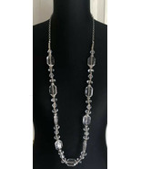 "Loft Clear Acrylic Beaded Necklace With Rhinestone Accents Extra Long 40"" - $17.81"